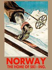 1935 Norway Ski-ing Art Norwegian Scandinavia Travel Advertisement Poster Print