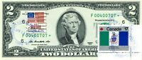 $2 DOLLARS 2013 CANCEL FLAG PROVINCIAL TERRITORIAL OF CANADA LUCKY MONEY $500