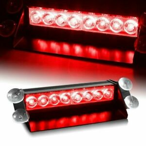 8-LED Red Emergency Flashing Strobe Light With Suction Cup Mount Universal 1