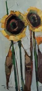 JOSE TRUJILLO Oil Painting IMPRESSIONISM SUNFLOWERS COLLECTIBLE VERTICAL ARTWORK