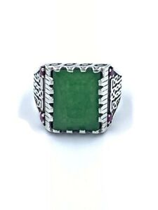 Vintage Natural Green Agate Stone Sterling Silver 925 Men's Fashion Ring SZ 11.5