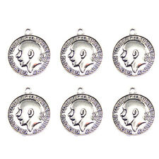 51703 White K Color Alloy Coins Shape Necklace Pendant Jewelry Crafts Making 20x
