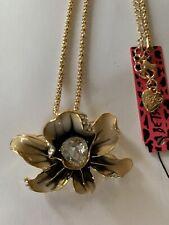 Betsey Johnson CREAM BLACK Enamel Crystal Flower Necklace /Brooch Pin-BJ59324