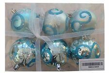 Grande Azul y Plata Bolas (8 Cm) - Paquete de 6