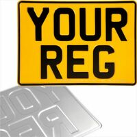 1x one YELLOW Square 11x8 280x203 Pressed Metal Number Plates Car REG Road Legal