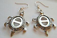 "Honu Turtle Earrings Retro Tibet Silver Big 1.5"" Tortoise Silver PlateWires New!"