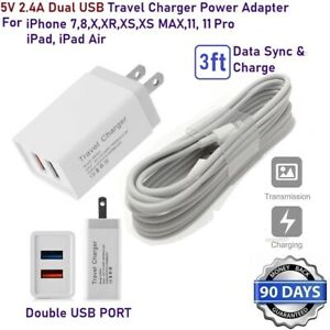 12W Double USB Wall Cube Charger + 3ft USB Cable For Apple iPad Pro,Air,Mini [M9