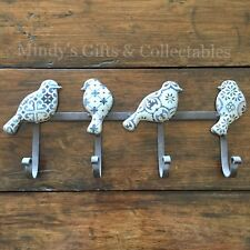 44cm Long Boho Style Blue/White Pressed Metal Bird Wall Hooks Home Decor Display