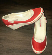 American Eagle Red And White Slip On Wedge Heel Shoe Womens 7.5