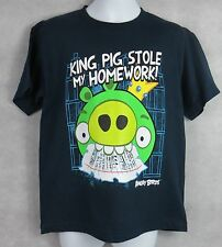 ANGRY BIRDS Boys T-Shirt King Pig Stole My Homework Navy Officially Licensed NEW