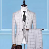 Men Suits Check Suits Notch Lapel Single-Breasted Blazer Jackets 3 Pcs Tuxedos