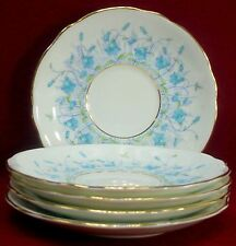 """COALPORT china HAREBELL Turquoise 9236 patten CREAM SOUP SAUCER 6"""" set of FIVE"""