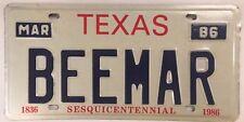 Vanity BMW BEEMER license plate German Auto Bayerische Motoren Werke AG car TX