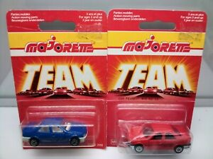 Majorette #218 Peugeot 405 MI 16 Sedan - Blue - Red - Model Cars x2