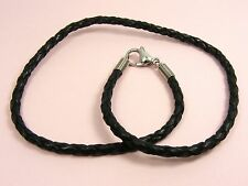 Custom Made STAINLESS STEEL 3MM Braided Genuine LEATHER Choker NECKLACE Coil End