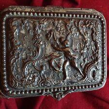 Antique 18-19.c Baroque Dance Grape Wine Love Silver Red Box Bronze Jewelry Rare