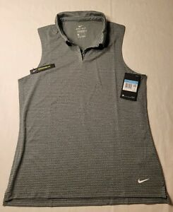 Nike Golf Women's Dry DRI-Fit Collared Sleeveless Polo Top Shirt Sz Med Gray