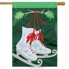 """Holiday Skates Winter Applique House Flag Christmas Embroidered 2 Sided 29""""x42"""""""