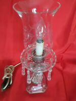 VTG CRYSTAL/GLASS HURRICANE ELECTRIC TABLE/BOUDOIR LAMPw/8 SPEAR HEAD PRISMS 14""