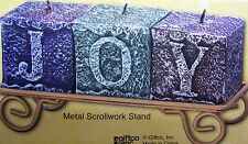 """SET OF 3 BLOCK CANDLES, SPELL OUT """"J- O -Y"""" IN A SCROLL STAND  BRAND NEW IN BOX"""