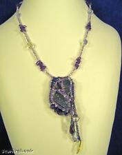 Purple Lavender Amethyst Small Natural Stone Hand Bead Embroidered Necklace OOAK