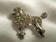 INCREDIBLE Vintage Silvertone Rhinestone Crystal POODLE PUPPY DOG Brooch 14BR160