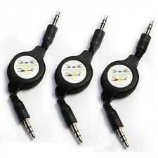 3pcs Retractable 3.5mm AUX Cord Male to Male Stereo Audio Cable for iPod MP3 Car