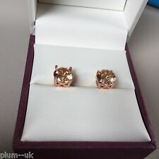 Classic round HONEY CITRINE 6.5mm stud earrings ROSE GOLD filled BOXED Plum UK