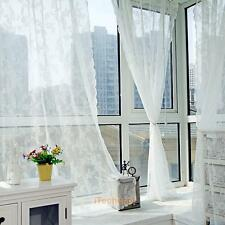 Door Window Voile Sheers Floral Lace Curtains Tulle Drape Valance Window Curtain
