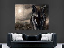 Scary Lobo Cartel de animales salvajes oscuro de arte en pared imagen grande gigante enorme