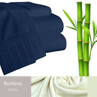 Bamboo Living Eco-Friendly 6 Piece Bedding Soft Sheet Set - Queen - Navy
