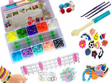 2000 Piece LOOM BANDS Rubber Bands Looms Kit Colorful Deluxe DIY Tool Set New