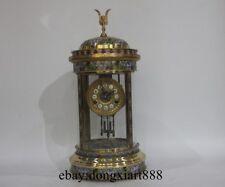 European Retro Round Bronze Cloisonne Mechanical Swing Table Clock Timepiece