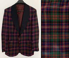 Vintage 1970s SAKS FIFTH AVENUE Mens Tuxedo Jacket Plaid Tartan Retro Sz. 40R 40