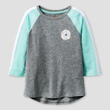 Cat & Jack Girls' Green 3/4 Sleeve Heather Gray Donut Patch Baseball T-Shirt, M