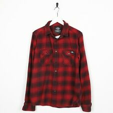 Vintage DICKIES Small Logo Checkered Long Sleeve Shirt Top Red   Small S