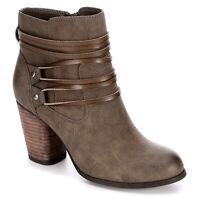 MADDEN GIRL Devon Women Leather Side Zip Ankle Boots Stone Paris Brown