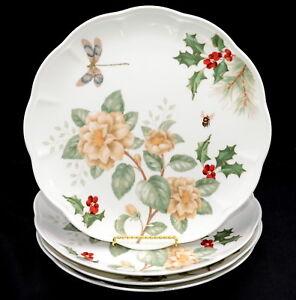 Lenox Butterfly Meadow Holiday Jasmine * 4 DINNER PLATES * Dragonfly, Christmas