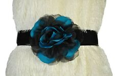 "WHITE HOUSE BLACK MARKET 7"" TEAL LOTUS FLOWER BELT SMALL (4-6)"