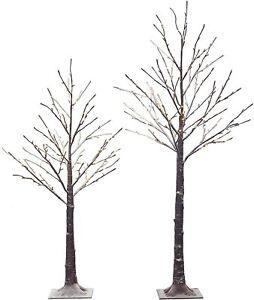 Hairui Pre-lit Twig Tree Snow Flocked Artificial Leafless Tree 4.5FT 128LED & 5.