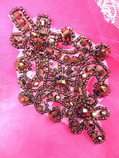 XR332 Victorian Bronze Beaded Applique Sewing Patch Motif 4""