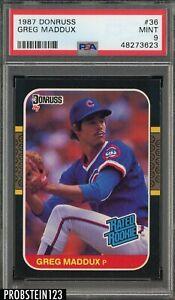 1987 Donruss #36 Greg Maddux Chicago Cubs RC Rookie HOF PSA 9 MINT