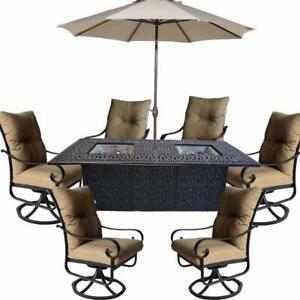 Propane fire pit dining table set 9 piece outoor cast aluminum  patio furniture.