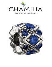 Autentico Chamilia 925 argento Sterling Charm Blu Scintillante Pietre Perline, prezzo consigliato £ 55