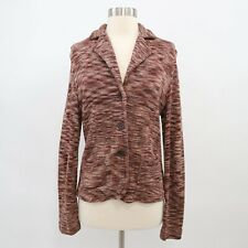 DKNY Silk Cardigan Sweater Blazer Womens 10 Brown Space Dye Knit Stretch