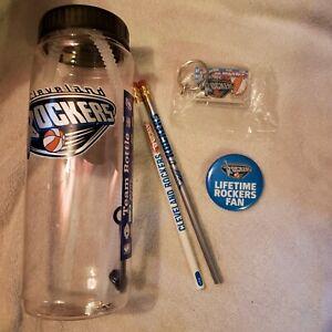 WNBA Cleveland Rockers Promo Set- waterbottle, keychain, pin, 2 pencil