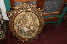 Stunning Religious Christianity Wall Plaque W/Gilded Frame-Large-Jesus Mary-LQQK