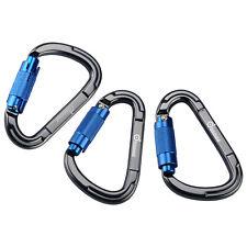 3PCS Heavy Duty D-Shape Climbing Carabiner Twist Locking Clip Rock Hook Buckle