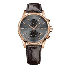 BRAND NEW HUGO BOSS GREY JET BROWN LEATHER CHRONOGRAPH MEN WATCH HB1513281
