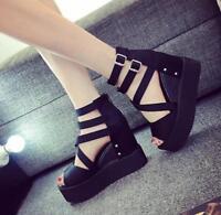Womens High Hidden Wedge Platform Open Toe Roman Sandals Hollow Strap Shoes 2018